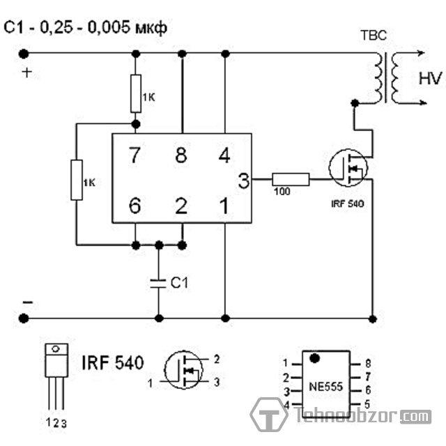 полевой транзистор irf540 схема.