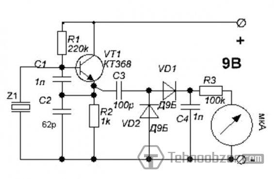 Принципиальная схема пробника кварцевых резонаторов.