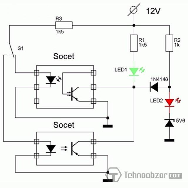 испытание оптопары - схема со