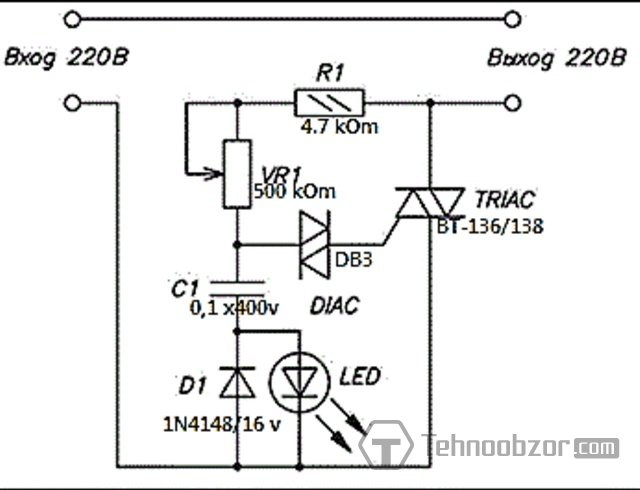 Симисторный регулятор - схема
