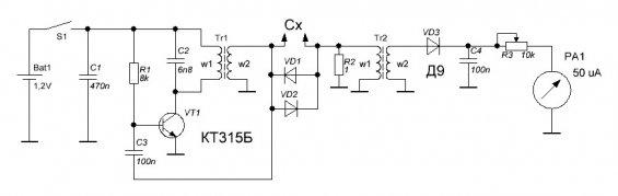 ESR измеритель конденсаторов - простая схема от RL55
