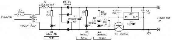Схема электрическая БП 220-12 вольт