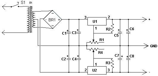 Схема двухполярного блока