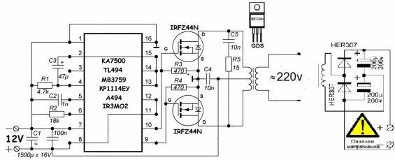 Электрическая схема преобразователя напряжения 12-220 вольт