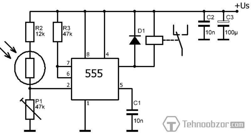 Схема включения освещения с задержкой