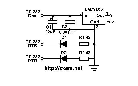 Схема для получения 5В от порта RS-232