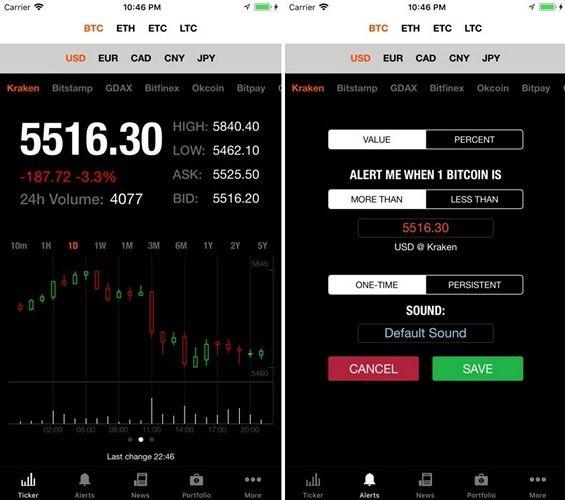 Интерфейс Bitcoin Ticker